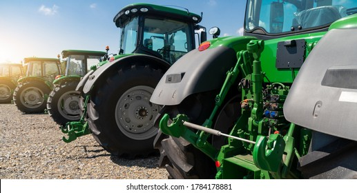 Agricultural tractors on a farm