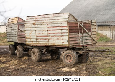 agricultural trailers stand in a field