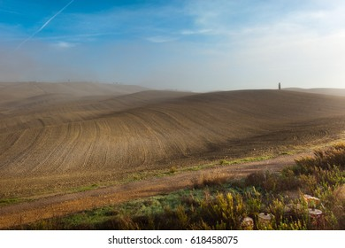 Agriculture, Fields And Hills In Italian Countryside, Tuscany, Italy
