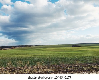 Agriculture fields on the sunny spring.