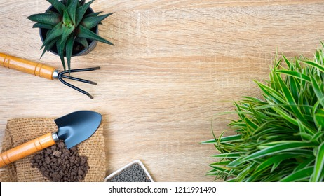 Agriculture and gardening equipment background for template and slide presentation design