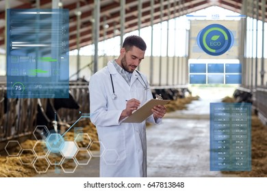 agriculture industry, people and animal husbandry concept - veterinarian or doctor with clipboard and herd of cows in cowshed on dairy farm