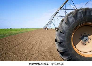 Agriculture. Irrigation system on the field. Agronomy. Watering crops.
