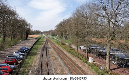 An agriculture landscape with a railway in the middle in the Achterhoek in the Netherlands near by station Ruurlo