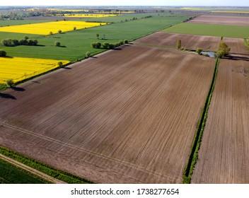 Landwirtschaft Tiefland im Frühjahr, Luftbild, Zulawy Wislane, Polen