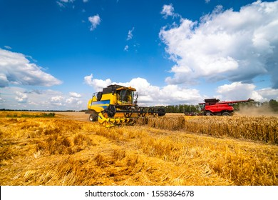 Agriculture machine harvesting crop in fields, Special technic in action. Agricultural concept. Ripe crop panorama. Cereal gathering. Heavy machinery, blue sky above field.