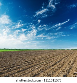 agriculture plowed field and blue sky with clouds in sunset