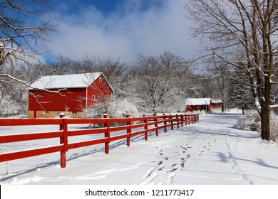 Agriculture and rural life at winter background.Rural landscape with red barn, wooden red fence and trees covered by fresh snow in sunlight. Scenic winter view at Wisconsin, Midwest USA, Madison area.