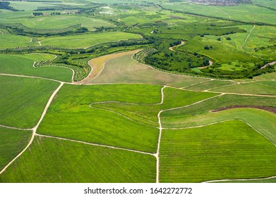 Agriculture, sugar cane cultivation and remnants of Atlantic forest in Goiana city, near Recife, Pernambuco, Brazil on March 1, 2014. Aerial view.