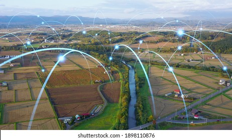 Agriculture and technology. Agritech. Environment. Communication network. - Shutterstock ID 1898110876