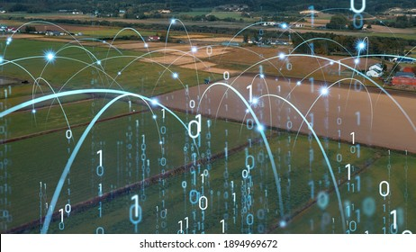 Agriculture and technology concept. Agritech. Digital transformation.