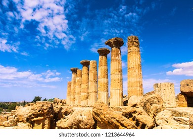 Agrigento, Italy, 08/18/2018 a monument of the Valle Dei Templi in Agrigento