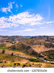 Agrigento, Italy, 08/18/2018 the view from Valle Dei Templi  in Agrigento