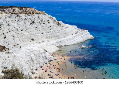 Agrigento, Italy, 12/01/2019, the most famous beach in Agrigento , Scala dei Turchi