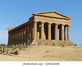Agrigento, Italy / Italy- August 2018: Ruins of an ancient temple in The Valley of the Temples near Agrigento