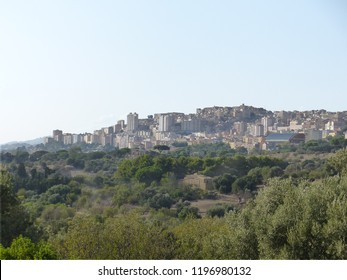 Agrigento, Italy / Italy- August 2018: Agrigento seen from the Valley of the Temples