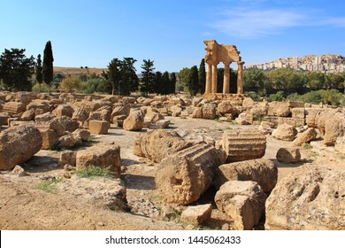 Agrigento, Sicily island in Italy. Famous Valle dei Templi, Temple of Castor and Pollux