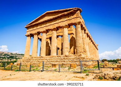 Agrigento, Sicily, Italy. Ercole Ancient Greek temple in the Valley of the Temples, Sicilian island.