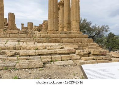 AGRIGENTO SICILY ITALY ON OCTOBER 11, 2018: UNESCO World Heritage Site The Temple of Juno in the Valley of the Temples at Agrigento