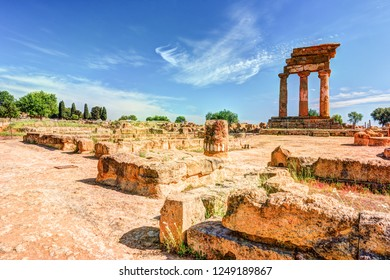 Agrigento, Sicily. Temple of Castor and Pollux one of the greeks temple of Italy, Magna Graecia. The ruins are the symbol of Agrigento city.