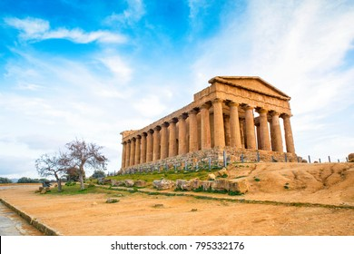 Agrigento, Sicily. Temple of Castor and Pollux one of the greeks temple of Italy (Magna Graecia). The ruins are the symbol of Agrigento city.