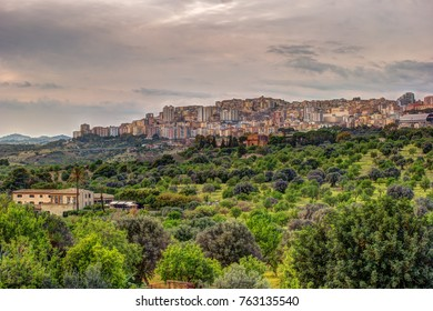 Agrigento, Sicily. View on the town of Agrigento from Temples Valley. Cityscape of the italian city in sunset light.