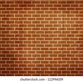 AGrunge bstract background of dark red bricks; isolated on white background.