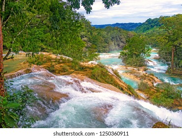 Agua Azul, Deep blue waterfalls with green trees, Palenque, Mexico