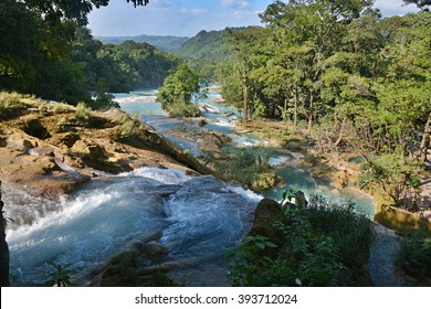 Agua Azul waterfall is located 64 km from Palenque, Yucatan  Peninsula, Mexico.