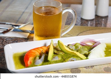 Aguachile, shrimp and beer