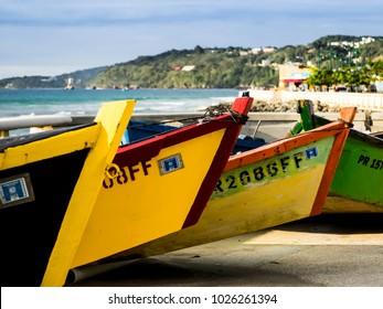Aguadilla, Puerto Rico/USA-February 22, 2017: Colorful boats off the island coast