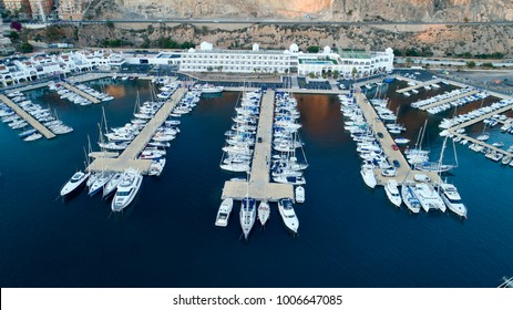 Aguadulce. Almeria. Spain. 11/10/2017. Partial view of the sport porto of Aguadulce. Photo taken with a drone