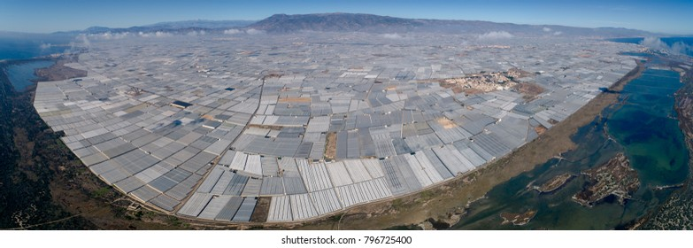 Aguadulce. Almeria. Spain. 11/21/2017. Greenhouses area in south-east Spain. Photo taken with a drone.