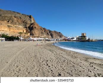 Aguadulce beach. Aguadulce is a spanish locality of Roquetas de Mar, province of Almeria. Spain