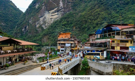 AGUAS  CALIENTAS, PERU - SEPTEMBER 07, 2019 : Train station and bus to Machu Picchu in  Aguas Calientes,  Peru.