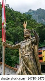 Aguas Calientes, Peru - 05/21/2019: Statue of Inca Emperor Pachacuti in Aguas Calientes square in Peru outside Machu Picchu.