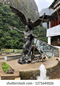 AGUAS CALIENTES, PERU - 19 NOVEMBER 2018: A monument in the main plaza at Aguas Calientes. Aguas Calientes is a town in the Urubamba River Valley, known as the gateway to Machu Picchu. Editorial.