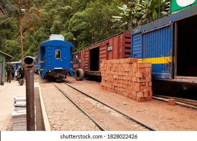 Aguas Calientes, Peru - April 5, 2014: A stack of bricks between the tourist and freight trains, at the Aguas Calientes station, near Machu Picchu, Peru.