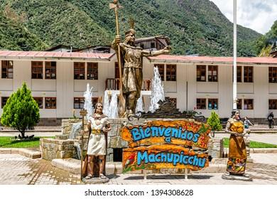 Aguas Calientes, Peru - April 8, 2019: Statue of Pachacuti in Aguas Calientes, Peru. Pachacuti was the 9th Sapa Inca of the Kingdom of Cusco.