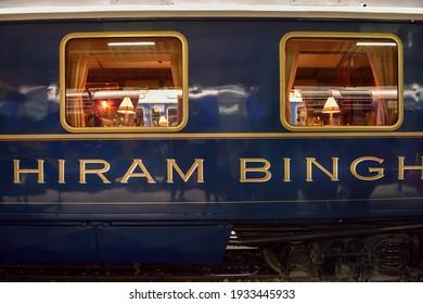 AGUAS CALIENTES, PERU – AUGUST 23, 2016: Hiram Bingham, luxury train from Cusco to Aguas Calientes to visit Machu Pichu, Peru