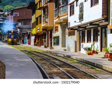 Aguas Calientes, Peru - October 1 2014: Aguas Calientes City and Train