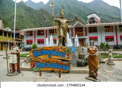 AGUAS CALIENTES, PERU - OCTOBER 3, 2016: Statue of Pachacuti at Aguas Calientes welcoming to Machu Picchu in Peru. Machu Picchu is both a cultural and natural UNESCO World Heritage Site from 1983