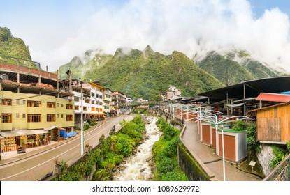 Aguas Calientes town and its river, near Machu Picchu, in southeast Peru