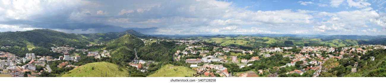 AGUAS DE LINDOIA, SAO PAULO, BRAZIL - FEBRUARY 27, 2018 - panoramic view from the top, being able to visualize constructions and nature together