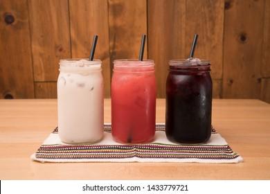 Aguas Frescas - Fruit juices Horchata, guava juice and jamaica