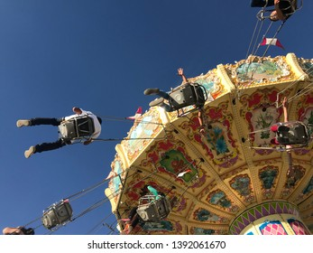 Aguascalientes, México, 04/24/2019. Flying chairs at San Marcos. The Feria Nacional de San Marcos (San Marcos Fair) is a national fair held in the Mexican state of Aguascalientes every year.