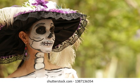 Aguascalientes, México, 10/29/2018. The catrina tradition of the day of the dead is custom of Mexico.