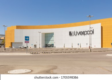 Aguascalientes, Mexico; 04/15/2020; Liverpool store in aguascalientes, Mexico - Empty stores in Aguascalientes - Empty parking lot - coronavirus outbreak in Mexico - Altaria mall