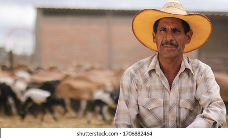 Aguascalientes, Mexico 06/17/2018 rancher posing for the camera, smiling. Behind herd of goats