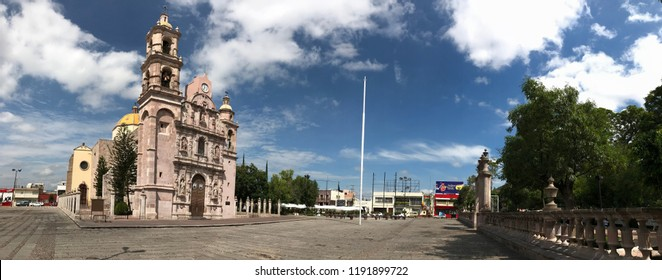 Aguascalientes, Mexico. 09/28/2018. temple and garden of San Marcos, home of the most famous fair in the country, the National Fair of San Marcos in the center of the city of Aguascalientes